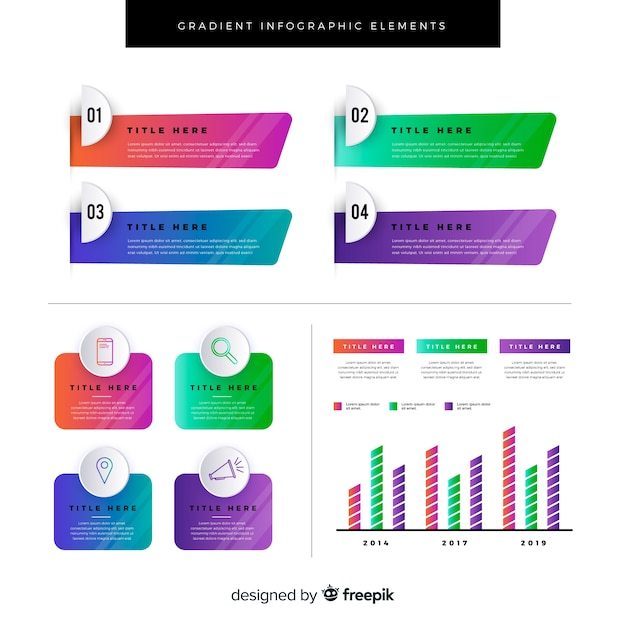 Gradient flat infographics element collection Free Vector