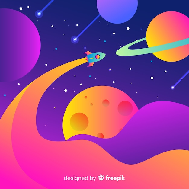 Gradient flat rocket in the space Free Vector