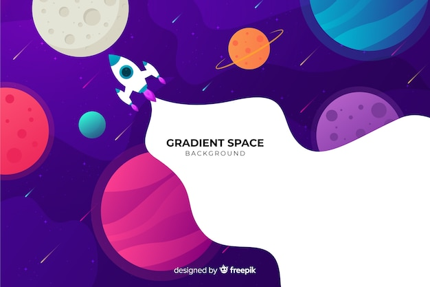 Gradient flat rocket traveling through the galaxy Free Vector