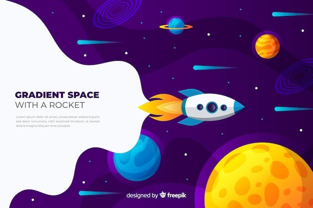 Градиентная плоская ракета, путешествующая по галактике Бесплатные векторы