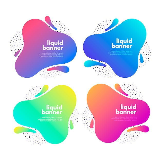 Gradient fluid banner collection Free Vector