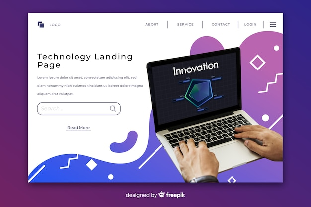 Gradient fluid technology landing page with photo Free Vector