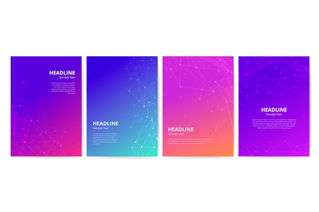 Gradient flyer template with geometric shapes set Free Vector