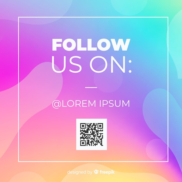 Gradient follow us background Free Vector