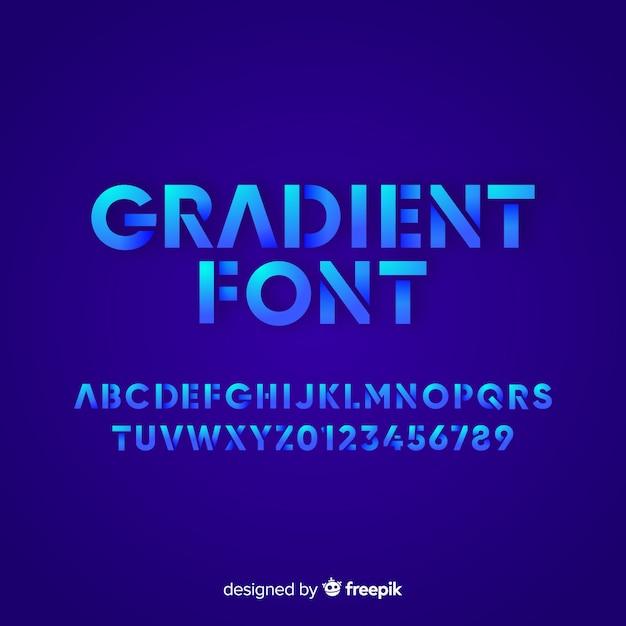 Gradient font template flat design Free Vector