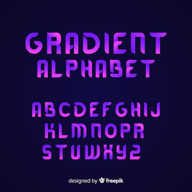 Gradient font template flat design Free Vector