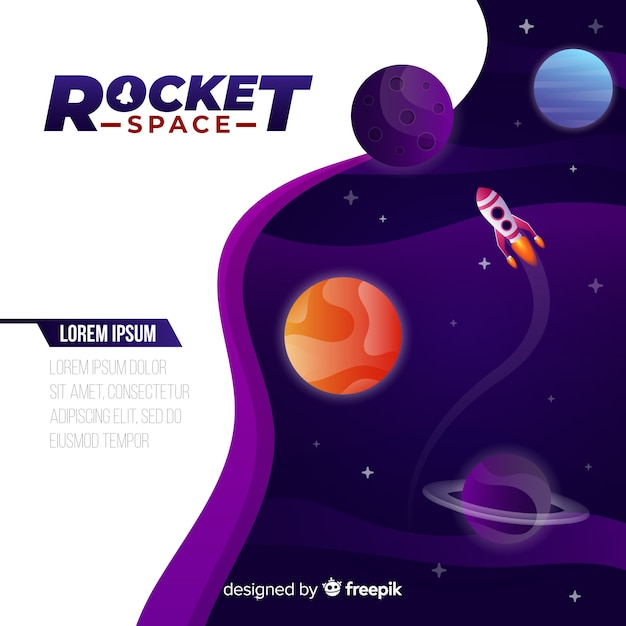 Gradient galaxy background with a rocket Free Vector