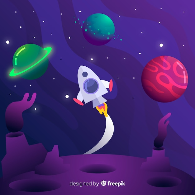 Gradient galaxy with rocket background Free Vector