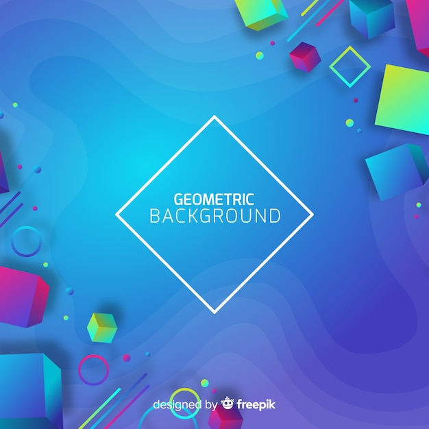 Gradient geometric 3d shapes background Free Vector