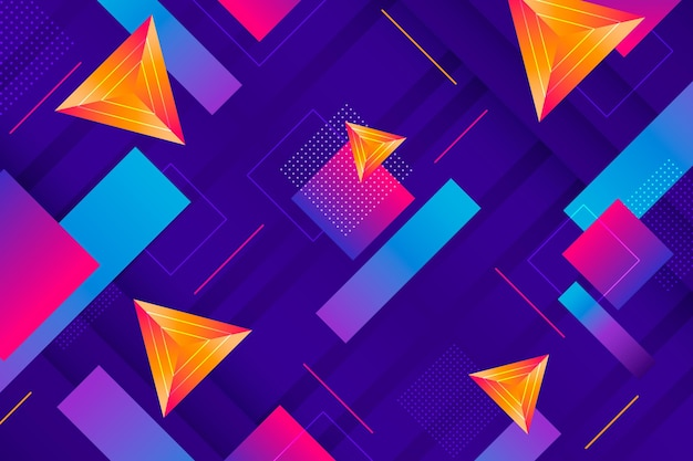 グラデーションの幾何学的な背景 無料ベクター