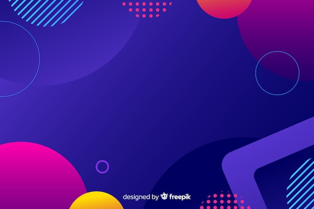Gradient geometric colorful shapes Free Vector