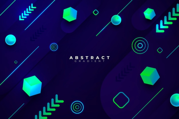 Gradient geometric concept on dark background Free Vector