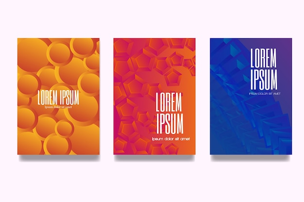 Gradient geometric design cover collection Free Vector