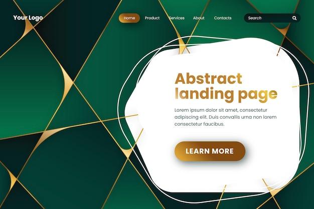 Gradient geometric green landing page Free Vector