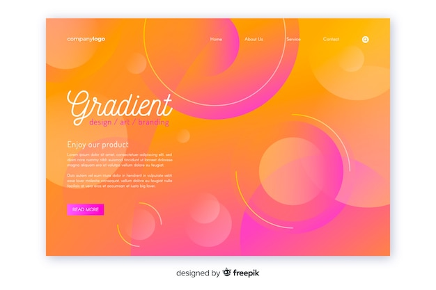 Gradient geometric landing page template Free Vector