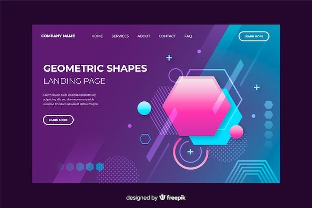 Gradient geometric landing page template Free Vector