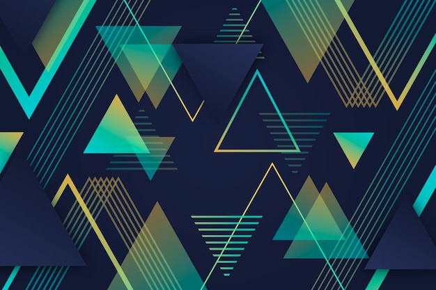 Gradient geometric poly shapes on dark background Free Vector