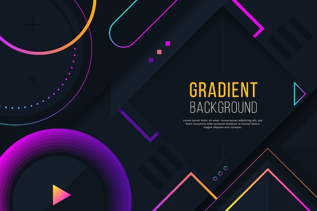 Gradient geometric purple shapes on dark wallpaper Free Vector