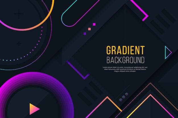 暗い壁紙にグラデーションの幾何学的な紫色の図形 Premiumベクター