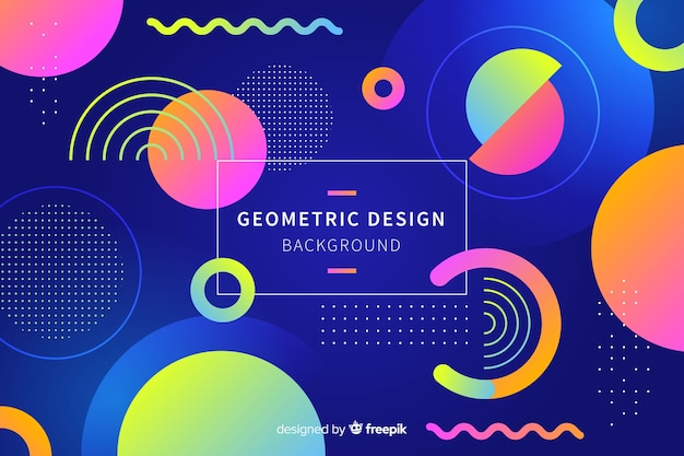 Gradient geometric shapes background in memphis style Free Vector