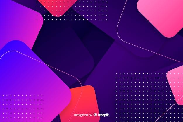 ドットとグラデーションの幾何学的図形の背景 無料ベクター
