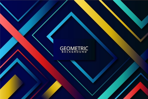 Gradient geometric shapes on colourful background Free Vector