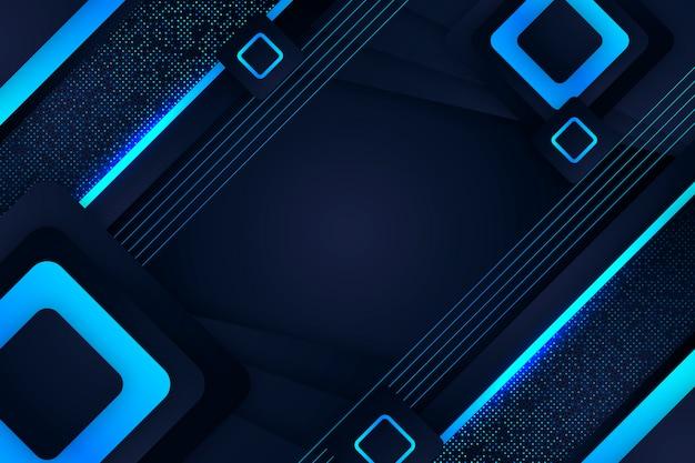 Gradient geometric shapes on dark background concept Premium Vector