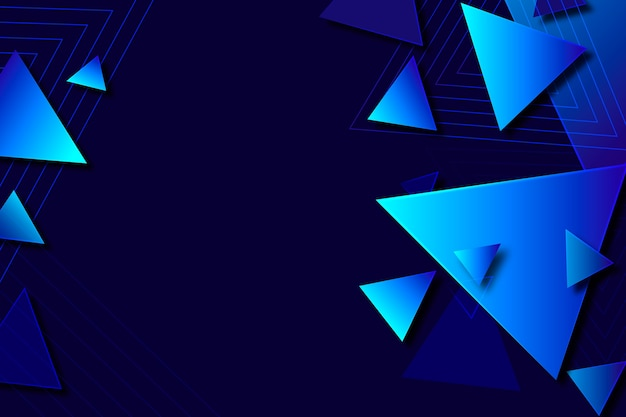 Gradient geometric shapes on dark background Free Vector