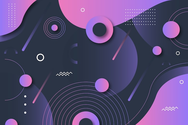 Gradient geometric shapes on dark wallpaper theme Free Vector
