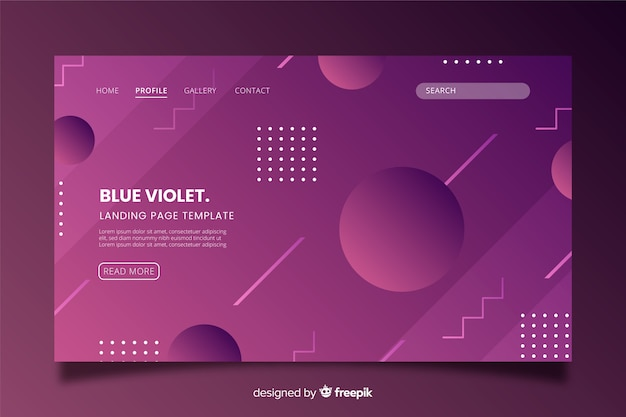 Gradient geometric shapes landing page Free Vector