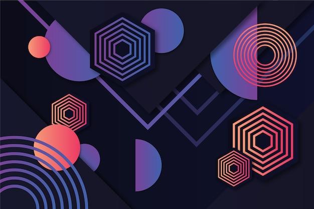 暗い背景をテーマにグラデーションの幾何学的図形 無料ベクター