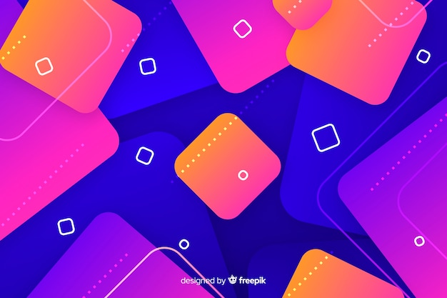 Gradient geometric shapes with squares Free Vector