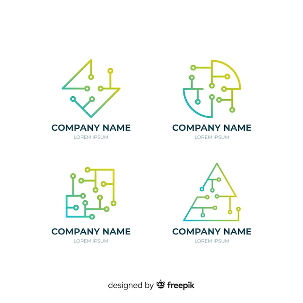 Gradient geometric technological logotype collection Free Vector
