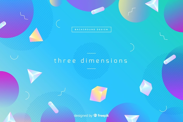 Gradient geometric tridimensional shapes background Free Vector