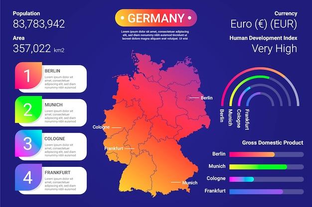 Gradiente germania mappa infografica Vettore gratuito