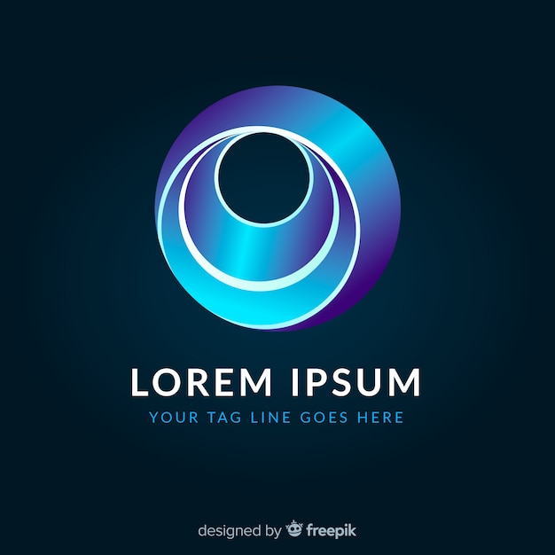 Gradient glowing colorful geometric logotype Free Vector