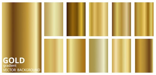 グラデーションゴールドメタルテーマカラー遷移コレクション。 Premiumベクター