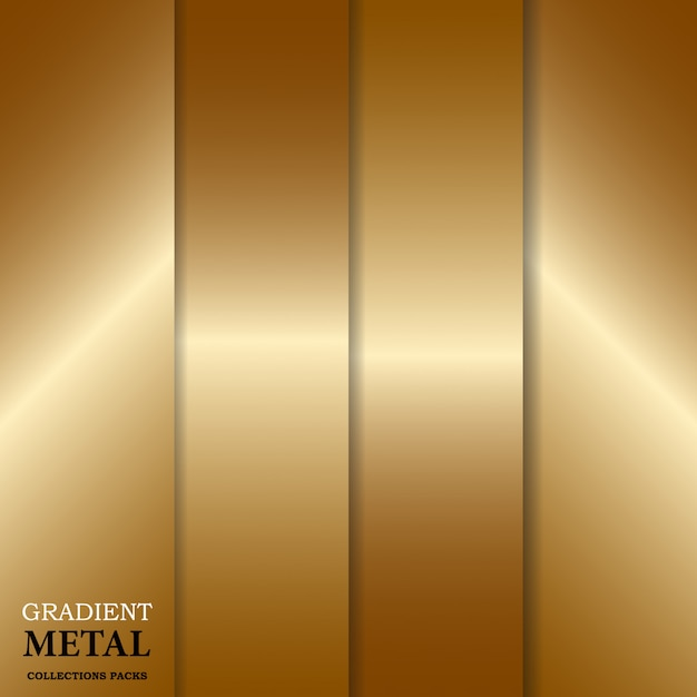 Gradient golden metal background Premium Vector