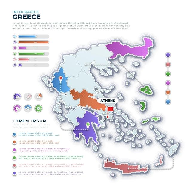 Gradiente grecia mappa infografica Vettore gratuito