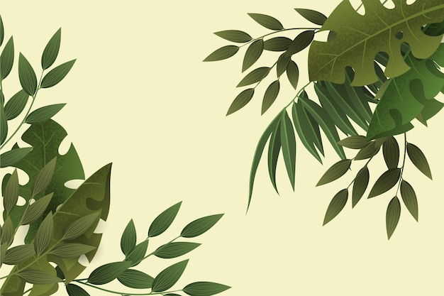 Gradient green leaveszoom background Free Vector