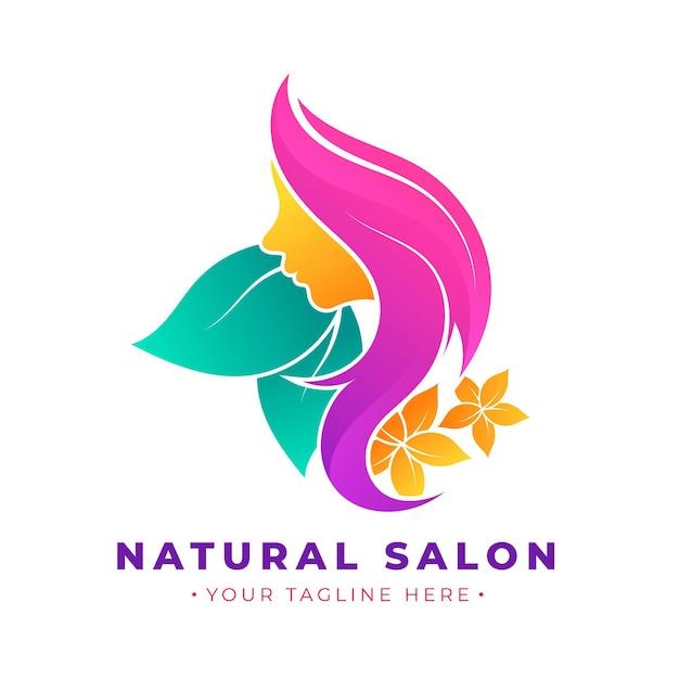 Градиентный логотип парикмахерской со слоганом Premium векторы
