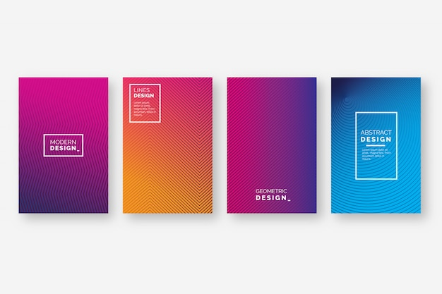 Gradient halftone cover collection Free Vector