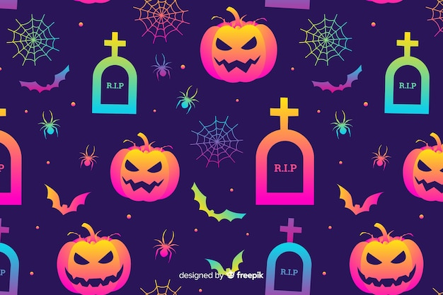 Gradient halloween elements background Free Vector