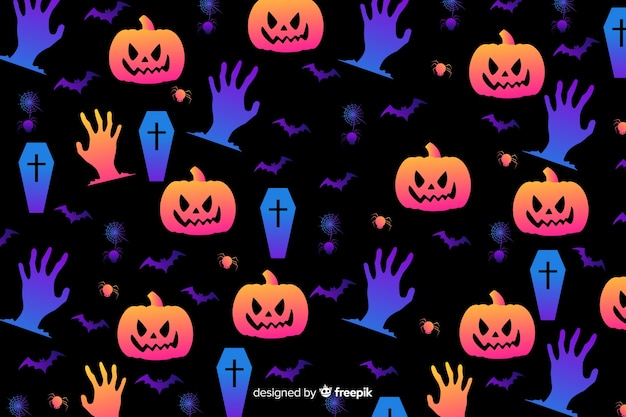 Gradient halloween elements background Free Vector
