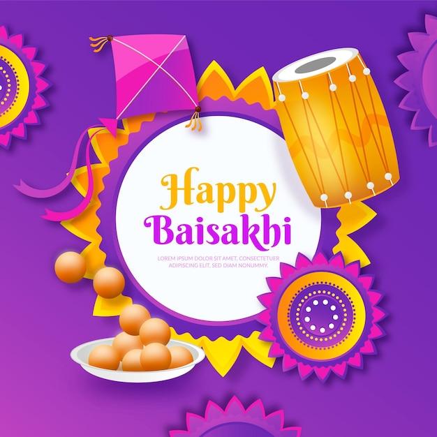 Illustrazione gradiente baisakhi felice Vettore gratuito