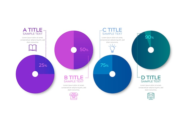 Градиент харви шаровые диаграммы - инфографика Бесплатные векторы