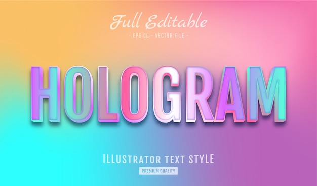Gradient holographic text style effect premium Premium Vector