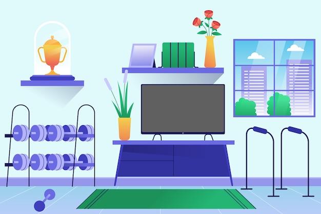 그라디언트 홈 체육관 그림 무료 벡터