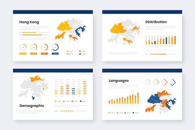 Градиентный шаблон инфографики карты гонконга Бесплатные векторы
