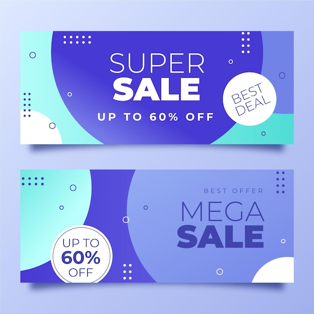 Gradient horizontal sale banners design Free Vector